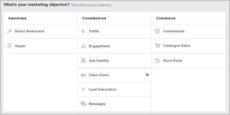 Prikaz ciljeva kampanje na Facebooku, Facebook screenshot