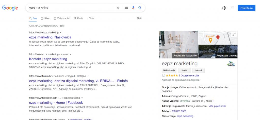 Google My Business, ezpz marketing, screenshot from Google search