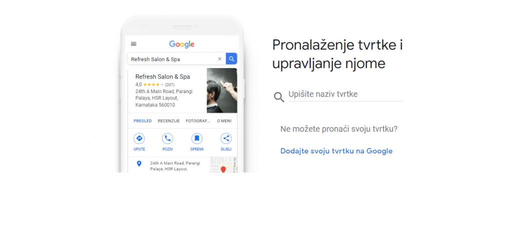 Google My Business, upute, screenchot, dodavanje tvrtke